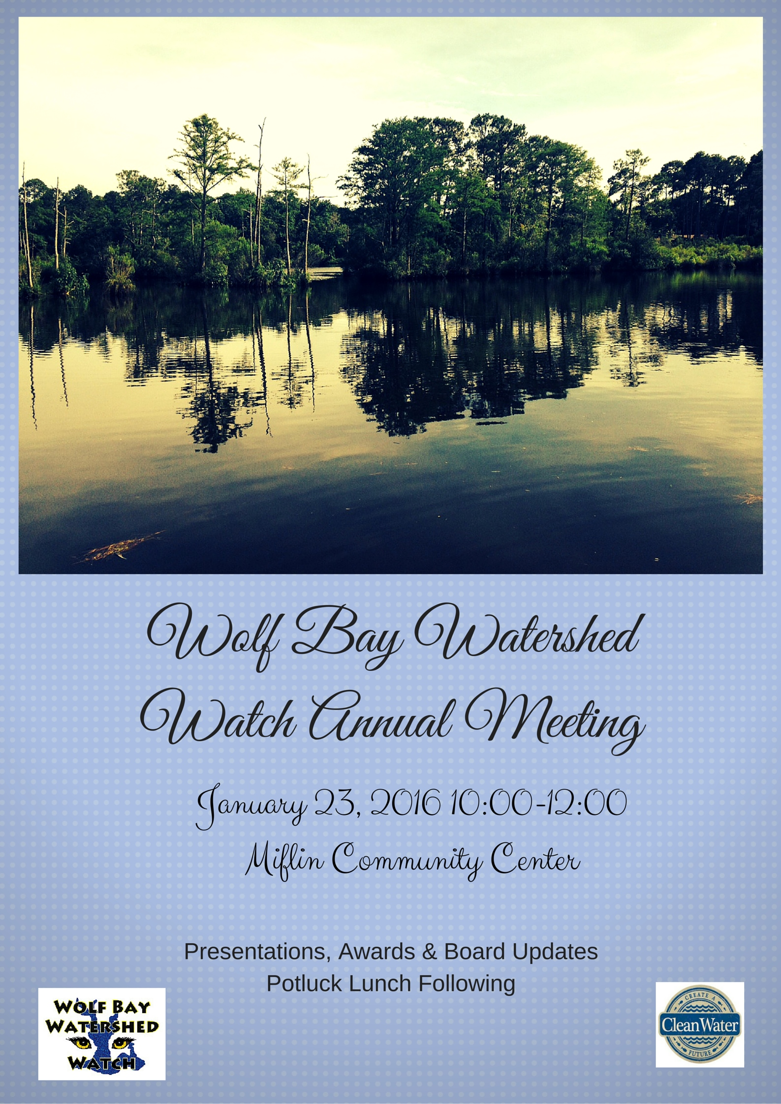 Wolf Bay Watershed WatchAnnual MeetingJanuary 23, 201610-00 AM - 12-00 PMMiflin Community Center (3)